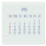 April 2016 monthly calendar. April 2016 vector monthly calendar on a squared notebook page. Week starting from Sunday. Hand written typography Stock Image