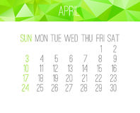 April 2016 monthly calendar. April 2016 vector monthly calendar. Week starting from Sunday. Contemporary low poly design in bright green color Royalty Free Stock Image