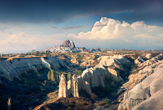 April morning in canyon near the famous Cappadocia village Uchis Royalty Free Stock Images