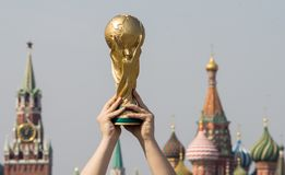 Trophy of the FIFA World Cup. April 16, 2018 Moscow. The man holds the Trophy of the FIFA World Cup Stock Images