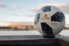 Trophy of the FIFA World Cup. April 13, 2018 Moscow, Russia Official ball of FIFA World Cup 2018 Adidas Telstar 18  against the backdrop of the Luzhniki stadium Stock Photos