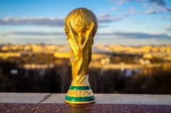 Trophy of the FIFA World Cup. April 13, 2018 Moscow, Russia Trophy of the FIFA World Cup against the backdrop of the Luzhniki stadium in Moscow Royalty Free Stock Image
