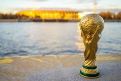 Trophy of the FIFA World Cup. April 13, 2018 Moscow, Russia Trophy of the FIFA World Cup against the backdrop of the Luzhniki stadium in Moscow Royalty Free Stock Photo