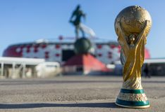 Trophy of the FIFA World Cup. April 9, 2018 Moscow, Russia Trophy of the FIFA World Cup  against the backdrop of the Spartak stadium, where the World Cup 2018 Royalty Free Stock Image
