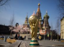 Trophy of the FIFA World Cup. April 16, 2018 Moscow. Russia Trophy of the FIFA World Cup on the Red Square in Moscow Stock Photo