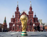 Trophy of the FIFA World Cup. April 16, 2018 Moscow. Russia Trophy of the FIFA World Cup on the Red Square in Moscow Royalty Free Stock Image