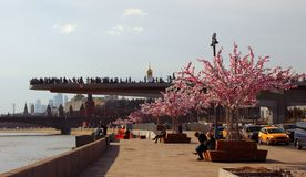 View of the floating bridge with tourists and the Moscow River. Royalty Free Stock Photography