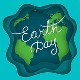 April Mother Earth Day Handskriven text på den abstrakta bakgrunden med jordplaneten och vågor med effekt 3d Beståndsdelar av den Arkivbild