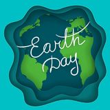 April Mother Earth Day. Handwritten text on the abstract background with Earth planet and waves with 3d effect. Earth Day concept Stock Photography