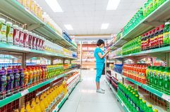 Supermarket interior products Stock Images