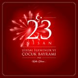 23 April, National Sovereignty and Children's Day Turkey celebration card. 23 nisan cocuk bayrami vector illustration. (23 April, National Sovereignty and Stock Image