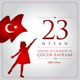 23 April, National Sovereignty and Children's Day Turkey celebration card. 23 nisan cocuk bayrami vector illustration. (23 April, National Sovereignty and Stock Images