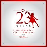 23 April, National Sovereignty and Children's Day Turkey celebration card. 23 nisan cocuk bayrami vector illustration. (23 April, National Sovereignty and Royalty Free Stock Images