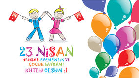 April 23 National Sovereignty and Children's Day. Children's day as a gift to all the world's children by Ataturk in April 23, 1920 Stock Photos
