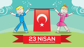 April 23 National Sovereignty and Children's Day. Children's day as a gift to all the world's children by Ataturk in April 23, 1920 Royalty Free Stock Image