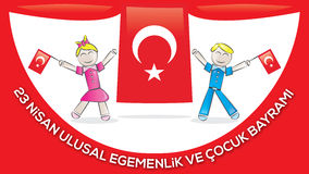 April 23 National Sovereignty and Children's Day. Children's day as a gift to all the world's children by Ataturk in April 23, 1920 Royalty Free Stock Photography