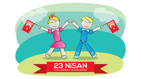 April 23 National Sovereignty and Children's Day. Children's day as a gift to all the world's children by Ataturk in April 23, 1920 Stock Photography