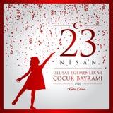 23 April, National Sovereignty and Children's Day Turkey celebration card. 23 nisan cocuk bayrami vector illustration. (23 April, National Sovereignty and Royalty Free Stock Photo