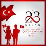 23 April, National Sovereignty and Children's Day Turkey celebration card. 23 nisan cocuk bayrami vector illustration. (23 April, National Sovereignty and Stock Photos