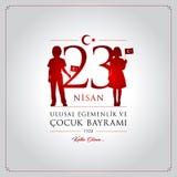 23 April, National Sovereignty and Children's Day Turkey celebration card. 23 nisan cocuk bayrami vector illustration. (23 April, National Sovereignty and Royalty Free Stock Image