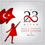 23 April, National Sovereignty and Children's Day Turkey celebration card. 23 nisan cocuk bayrami vector illustration. (23 April, National Sovereignty and Royalty Free Stock Photography