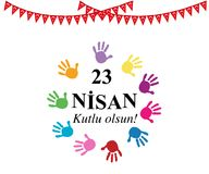 April 23 National Sovereignty and Children`s Day with colorful hand prints stock illustration