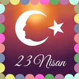 April 23 National Sovereignty and Children`s Day of Turkey 23 Nisan Ulusal Egemenlik ve Çocuk Bayramı. April 23 National Sovereignty and Children`s Day of Stock Photography