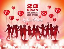 23 April National Sovereignty und der Tag der Kinder Glückliche Kinderfahne lizenzfreie abbildung