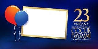 23. April nationaler Souveränitäts-und der Kinder Tag Anschlagtafel, Plakat, Social Media, Gruß-Kartenschablone Türkisch: 23 Nisa vektor abbildung