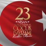 23. April nationaler Souveränitäts-und der Kinder Tag Anschlagtafel, Plakat, Social Media, Gruß-Kartenschablone Türkisch: 23 Nisa stock abbildung