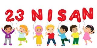 23. April nationales Souveränität und Kinder` s Tag Türkischer Text: Am 23. April vektor abbildung