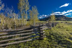 APRIL 27, 2017 - near Ridgway and Telluride Colorado - a Rail Fence and San Juan Mountains,.  Mountain,  Photography. APRIL 27, 2017 - near Ridgway and Telluride Stock Images