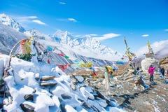 12 April 2018 - Nepal ::prayer flag and stupa on the mountain Stock Photos