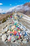12 April 2018 - Nepal ::prayer flag and stupa on the mountain Stock Photo