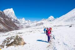 8 April 2018 - Nepal ::trekker are trekking on the snow mountain Royalty Free Stock Photography