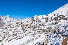 8 April 2018 - Nepal ::trekker are trekking on the snow mountain Royalty Free Stock Image