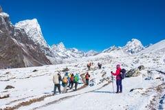 8 April 2018 - Nepal ::trekker are trekking on the snow mountain Royalty Free Stock Photo