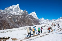8 April 2018 - Nepal ::trekker are trekking on the snow mountain Stock Image