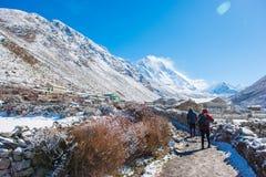 8 April 2018 - Nepal ::trekker are trekking to Everest base camp Stock Photo
