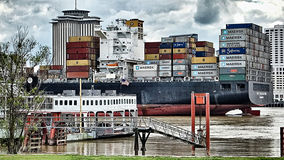 April 2017 New Orleans USA - Maerks cargo ship passing through N royalty free stock photos