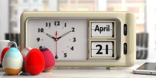 21. April 2019 Ostern-Datum am alten Retro- Wecker, Ostereier, Bürohintergrund, Illustration 3d lizenzfreie abbildung
