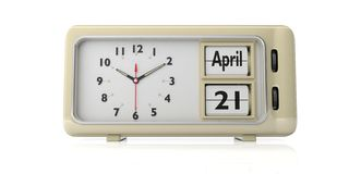 21. April 2019 Ostern-Datum am alten Weinlesewecker lokalisiert auf weißem Hintergrund Abbildung 3D stock abbildung