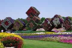 April 2015 Parken Sie Gasse mit vielen Blumen und großen Würfel Dubai-MIR Lizenzfreies Stockfoto