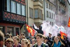 April-Protest gegen Arbeitsreformen in Frankreich Lizenzfreies Stockbild