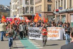 April-Protest gegen Arbeitsreformen in Frankreich Stockbild