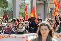 April protest mot Labour reformer i Frankrike Fotografering för Bildbyråer