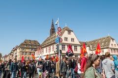 April protest mot Labour reformer i Frankrike Arkivbild
