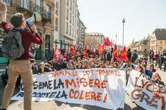 April protest mot Labour reformer i Frankrike Royaltyfri Foto