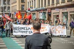 April protest mot Labour reformer i Frankrike Arkivbilder