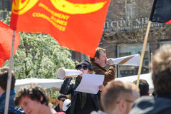 April protest mot Labour reformer i Frankrike Royaltyfria Foton